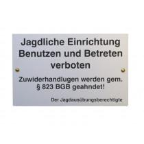 """Warnschild """"Jagdliche Einrichtung"""""""